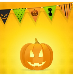 halloween pumpkin with bunting on an orange vector image