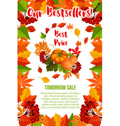 Autumn sale pumpkin maple leaf poster vector