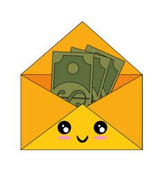 Mail with money kawaii cartoon vector