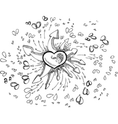 Black and white heart with arrows vector