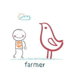 farmer next to the chicken vector image