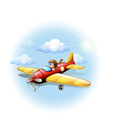 A person riding on a plane vector image