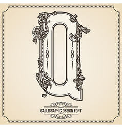 Calligraphic font Letter Q vector image