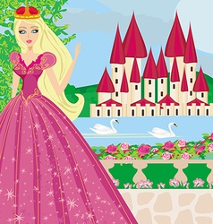Beautiful princess in the garden vector