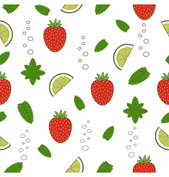 Strawberry mojito seamless pattern vector