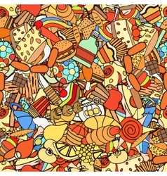 Food and sweets seamless pattern vector