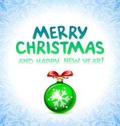 Merry christmas and happy new year card ball toy vector