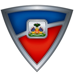 Steel shield with flag haiti vector