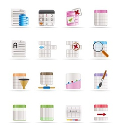 Database and table formatting icons vector