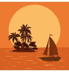 Sailing boat tropical sea vector