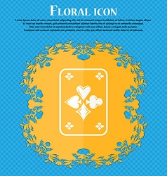 Game cards icon floral flat design on a blue vector