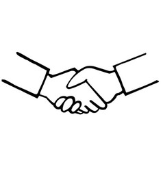 business handshake hand drawing vector image vector image