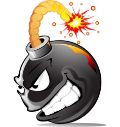 cartoon evil bomb vector image vector image