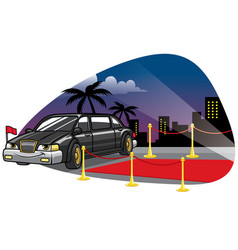 cartoon limousine car at the red caret vector image