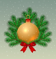 Christmas ball with fir tree branches vector