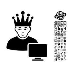 Computer moderator flat icon with bonus vector