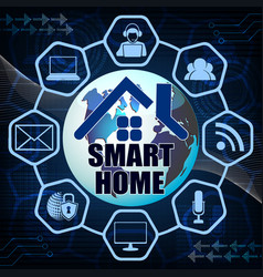 dark blue background with symbols of a smart house vector image