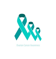 Duotone teal ribbons ovarian cancer awareness vector