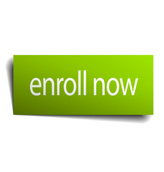 Enroll now green paper sign isolated on white vector