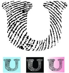 Fingerprint Alphabet Letter U vector image vector image
