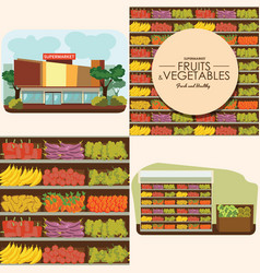 Fruit and vegetables shelf with fresh healthy food vector