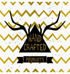 Gold chevron pattern triangle product label design vector