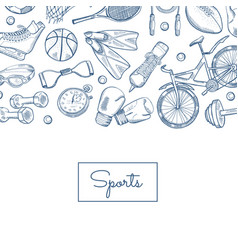 hand drawn sports equipment vector image
