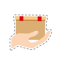 Hand holding cardboard box delivery cut line vector