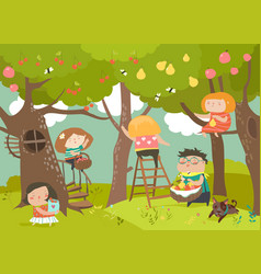 happy children harvesting vector image vector image