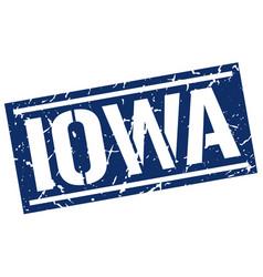 Iowa blue square stamp vector
