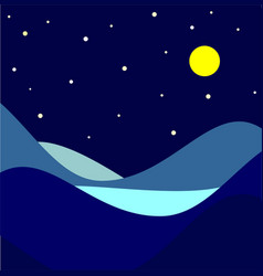 Landscape moonlit night vector