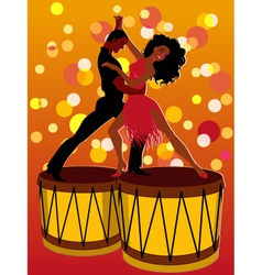 Latin couple dancing on bongos vector image