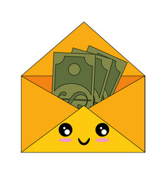 Mail with money kawaii cartoon vector