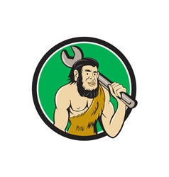 Neanderthal caveman with spanner circle cartoon vector