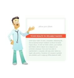 Portrait medical doctor on advertisement board vector image