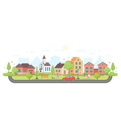 Residential area - modern flat design style vector