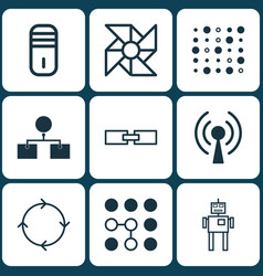 Set of 9 robotics icons includes mainframe vector