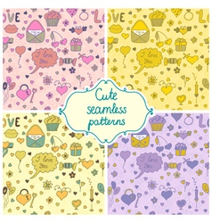 Set of romantic seamless pattern in vector