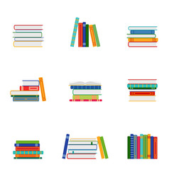 set of stacks of books groups of books vector image