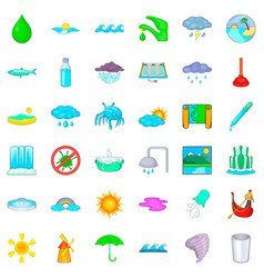 shower icons set cartoon style vector image