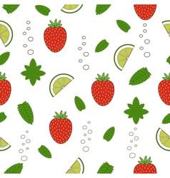 Strawberry mojito seamless pattern vector image