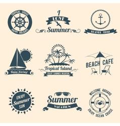 Summer sea emblems black vector image