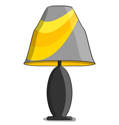 table lamp in yellow and gray colours stands on a vector image vector image