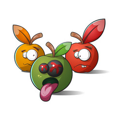 terrible funny apples death and madness vector image vector image