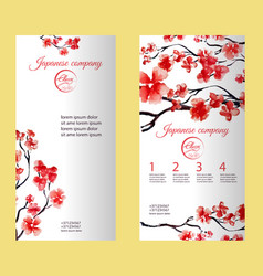 vertical flyer or brochure with cherry blossom or vector image vector image