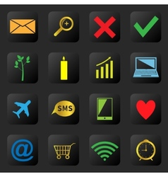 Web icons on the black background vector image vector image