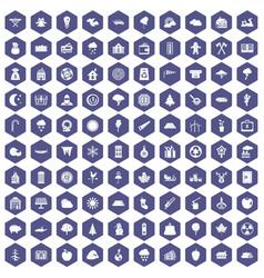 100 lumberjack icons hexagon purple vector