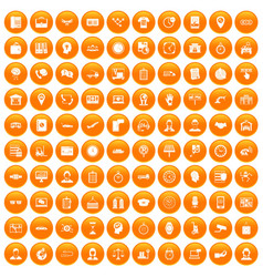 100 working hours icons set orange vector image vector image
