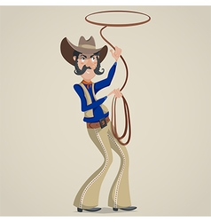 Cowboy with lasso funny cartoon character vector