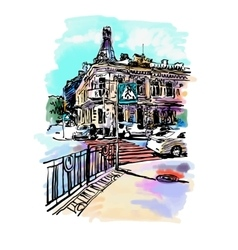 original digital sketch watercolor of Kyiv vector image